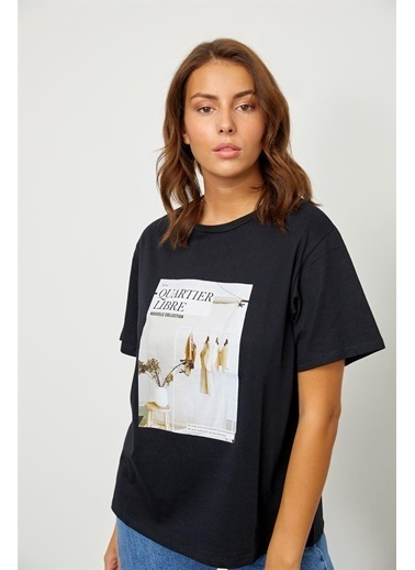 Setre Ekru Baskılı Kısa Kol T-Shirt Siyah